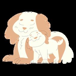 Ilustración de animales mamá y bebé perros