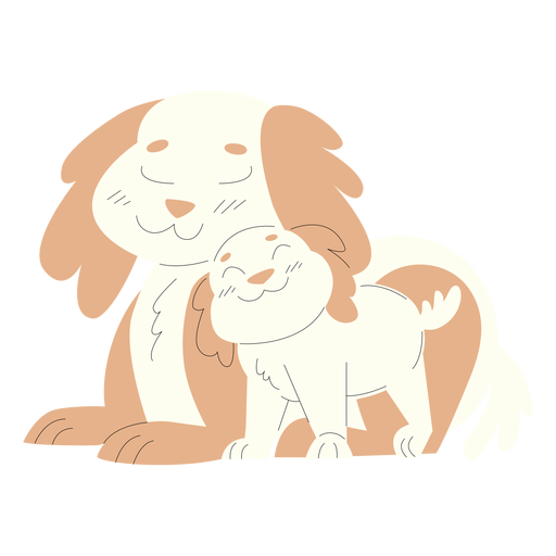 Animals mom and baby dogs illustration