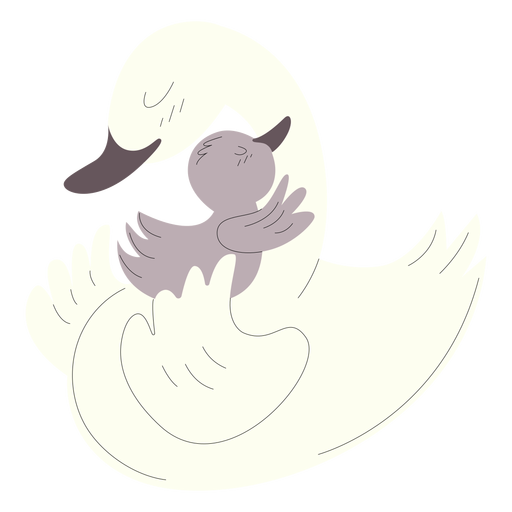 Animals mom and baby ducks illustration Transparent PNG