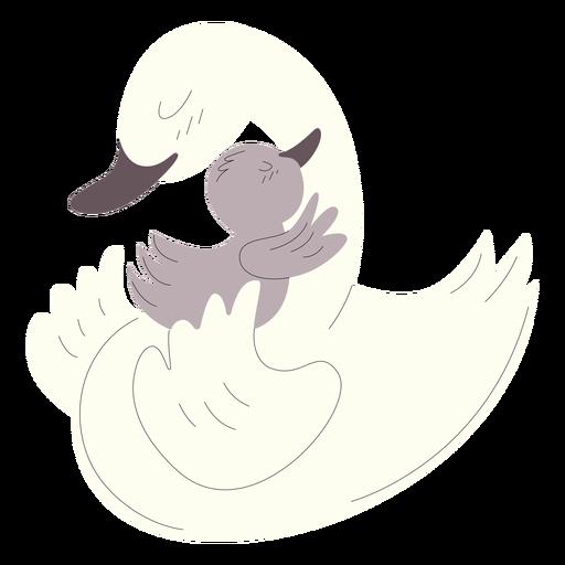 Animals mom and baby ducks illustration