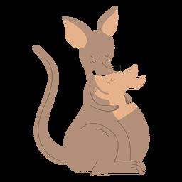 Animales mamá y bebé canguro ilustración