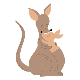 Animals mom and baby kangaroo illustration