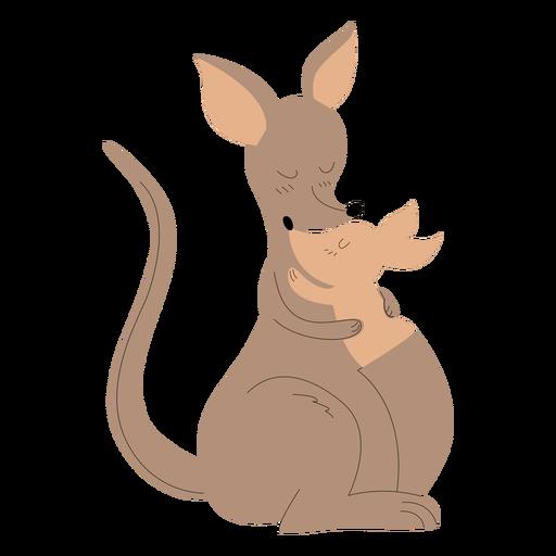 Animals mom and baby kangaroo illustration