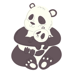 Animals mom and baby pandas illustration