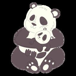 Ilustración de animales mamá y bebé pandas