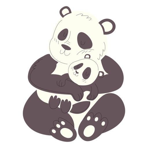 Animals mom and baby pandas illustration Transparent PNG