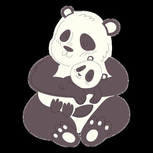 Animals mom and baby pandas illustration