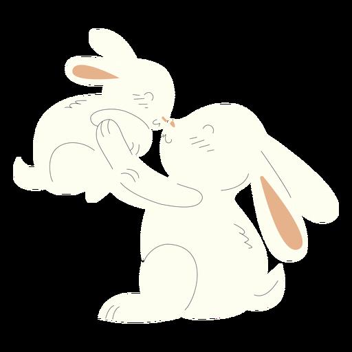 Animals mom and baby rabbits illustration