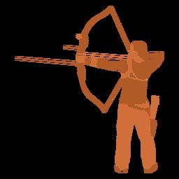 Homem com arco e flecha de costas