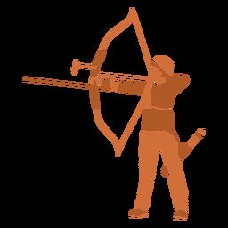 Homem com arco e flecha deixado plano