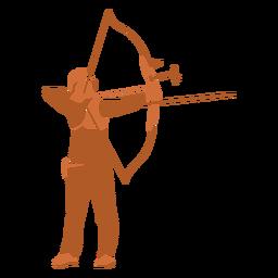 Homem com arco e flecha bem plano