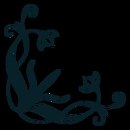 Trazo de esquina de ornamento art nouveau