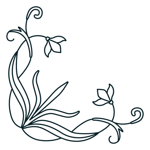Art nouveau ornament corner stroke Transparent PNG