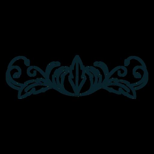 Art nouveau ornament horizontal thick stroke