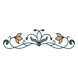 Art nouveau ornament horizontal thin flat