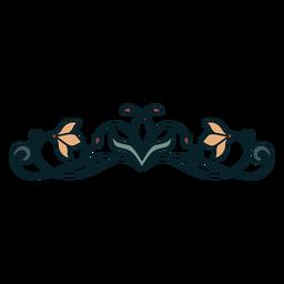 Art nouveau ornamento plano delgado horizontal