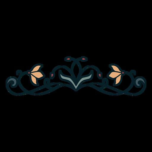 Art nouveau ornament horizontal thin flat