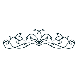 Art nouveau ornament horizontal thin stroke