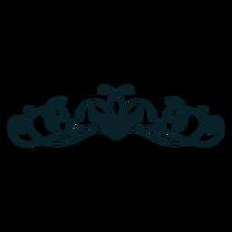 Art nouveau ornamento horizontal fino traço