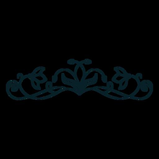 Art nouveau ornament horizontal thin stroke