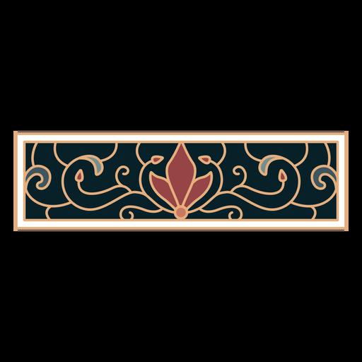 Art nouveau ornament rectangle horizontal flat