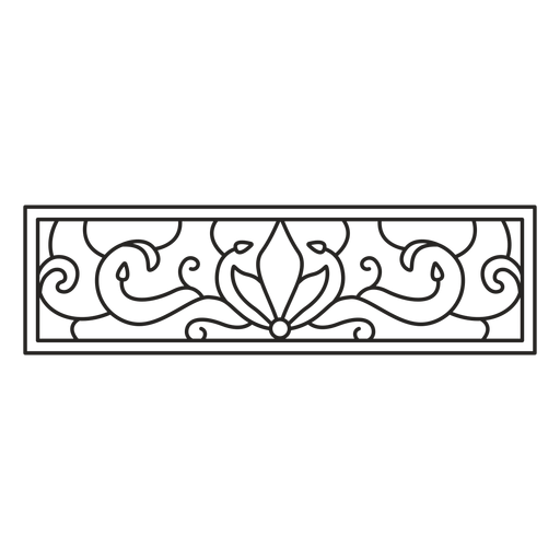 Art nouveau ornament rectangle horizontal stroke