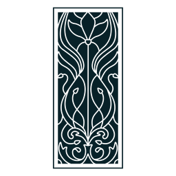 Retângulo de ornamento Art nouveau vertical