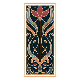 Art nouveau ornament rectangle vertical flat