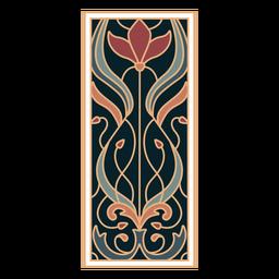 Art nouveau ornamento retângulo vertical plano