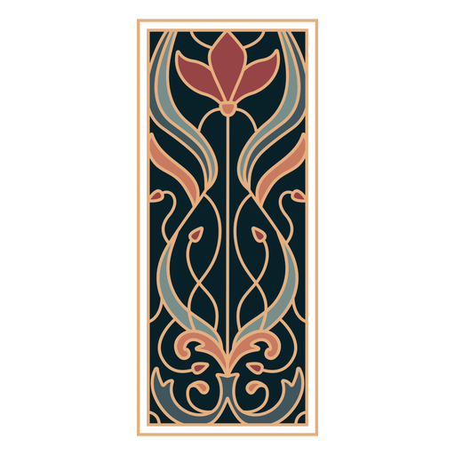 Art nouveau ornament rectangle vertical flat