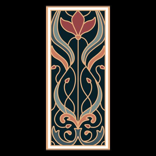 Ornamento de retângulo em estilo art nouveau plano vertical