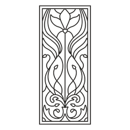 Art nouveau ornament rectangle vertical stroke