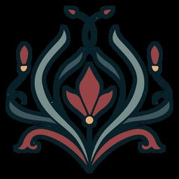 Ornamento Art nouveau redondo plano complexo