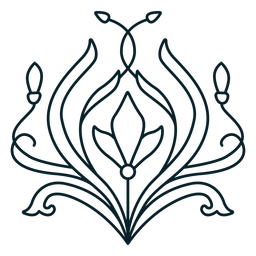 Art nouveau ornament round complex stroke