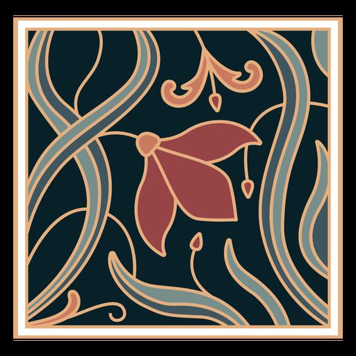 Ornamento art nouveau plano cuadrado
