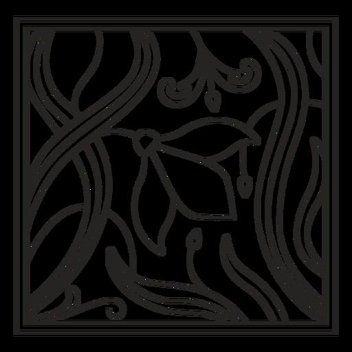 Art nouveau ornament square stroke