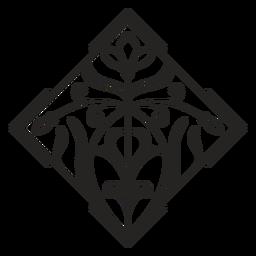 Art nouveau ornament square tilted stroke