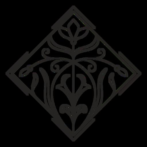 Art nouveau ornament square tilted stroke Transparent PNG