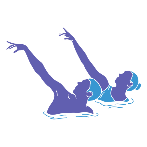 Artistic swimming duo side flat Transparent PNG