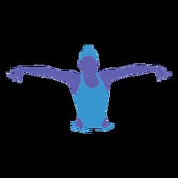 Mulher de natação artística plana