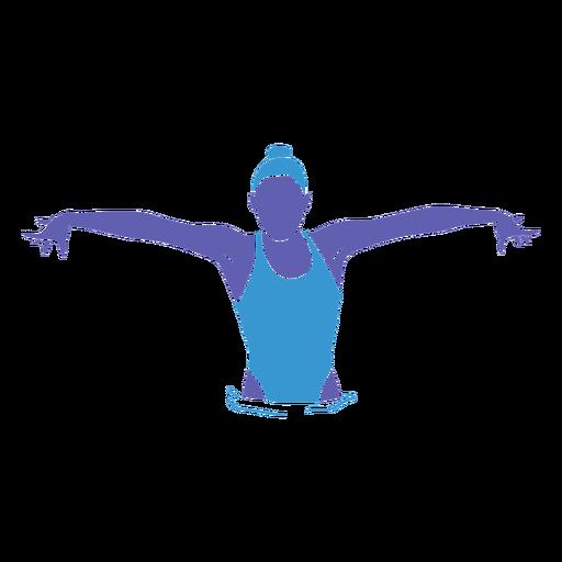 Mujer natación artística plana Transparent PNG