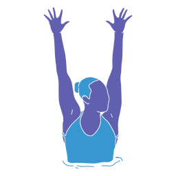 Artistic swimming woman hands raised flat