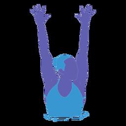 Natación artística mujer manos levantadas planas