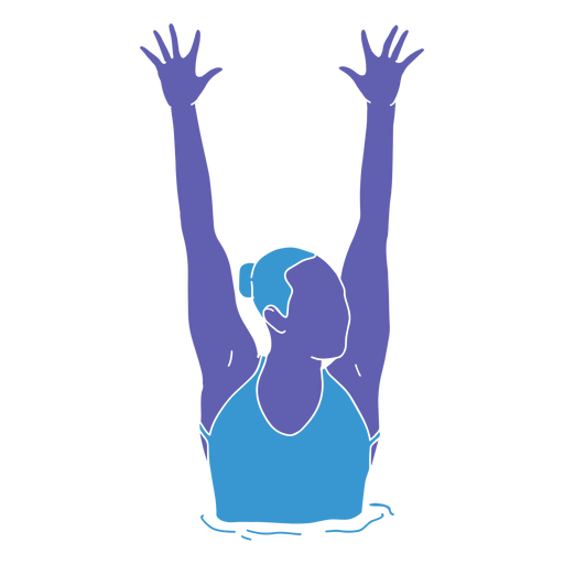 Artistic swimming woman hands raised flat Transparent PNG