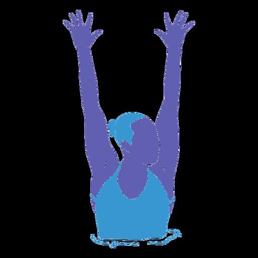 Artistic swimming woman hands raised flat