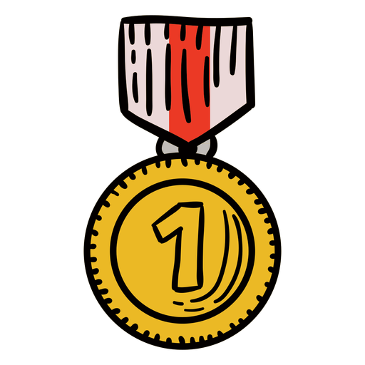Award first medal hanging hand drawn