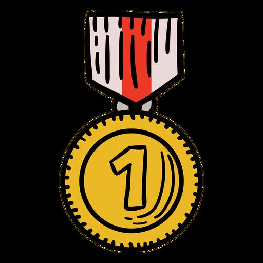 Prêmio primeira medalha pendurada desenhado à mão