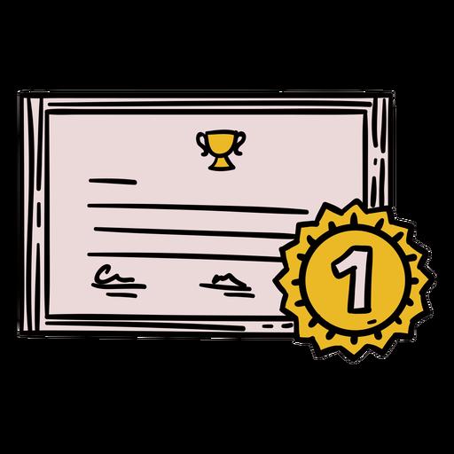Prêmio primeiro certificado desenhado à mão