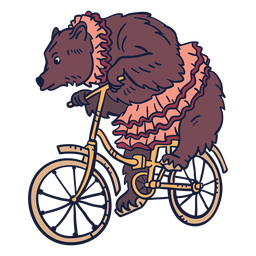 Bear circus cycling hand drawn