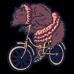 Urso de circo de bicicleta desenhado à mão